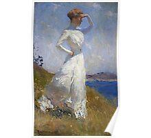 Frank Weston Benson - Sunlight. Woman portrait: sensual woman, girly art, female style, pretty women, femine, beautiful dress, cute, creativity, love, sexy lady, erotic pose Poster