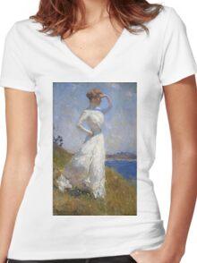 Frank Weston Benson - Sunlight. Woman portrait: sensual woman, girly art, female style, pretty women, femine, beautiful dress, cute, creativity, love, sexy lady, erotic pose Women's Fitted V-Neck T-Shirt