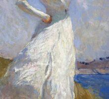 Frank Weston Benson - Sunlight. Woman portrait: sensual woman, girly art, female style, pretty women, femine, beautiful dress, cute, creativity, love, sexy lady, erotic pose Sticker