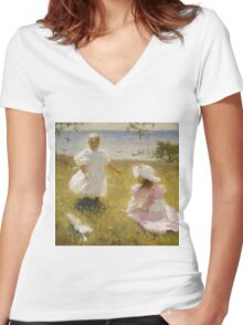Frank Weston Benson - The Sisters. Child portrait: cute baby, kid, children, pretty angel, child, kids, lovely family, boys and girls, boy and girl, mom mum mammy mam, childhood Women's Fitted V-Neck T-Shirt
