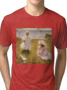 Frank Weston Benson - The Sisters. Child portrait: cute baby, kid, children, pretty angel, child, kids, lovely family, boys and girls, boy and girl, mom mum mammy mam, childhood Tri-blend T-Shirt
