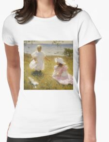 Frank Weston Benson - The Sisters. Child portrait: cute baby, kid, children, pretty angel, child, kids, lovely family, boys and girls, boy and girl, mom mum mammy mam, childhood Womens Fitted T-Shirt