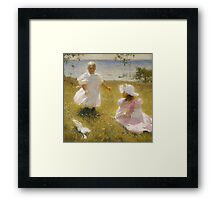 Frank Weston Benson - The Sisters. Child portrait: cute baby, kid, children, pretty angel, child, kids, lovely family, boys and girls, boy and girl, mom mum mammy mam, childhood Framed Print