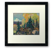Franklin Carmichael - Bay Of Islands . Mountains landscape: mountains, rocks, rocky nature, sky and clouds, trees, peak, forest, rustic, hill, travel, hillside Framed Print