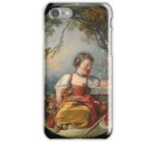 Francois Boucher - The Little Pilgrim. Girl portrait: cute girl, girly, female, pretty angel, child, beautiful dress, face with hairs, smile, little, kids, baby iPhone Case/Skin
