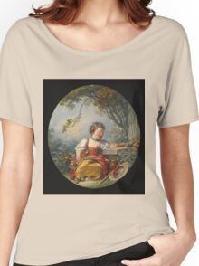 Francois Boucher - The Little Pilgrim. Girl portrait: cute girl, girly, female, pretty angel, child, beautiful dress, face with hairs, smile, little, kids, baby Women's Relaxed Fit T-Shirt