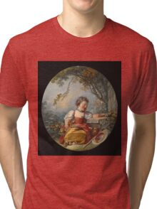 Francois Boucher - The Little Pilgrim. Girl portrait: cute girl, girly, female, pretty angel, child, beautiful dress, face with hairs, smile, little, kids, baby Tri-blend T-Shirt