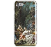 Francois Boucher - The Bird Catchers 1748. Picnic painting: picnic time, man and woman, holiday, people, family, travel, garden, outdoor meal, eating food, nautical panorama, picnic iPhone Case/Skin