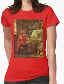 Francois Boucher - The Painter In His Studio. Man portrait: strong man, boy, male, beard, business suite, masculine, boyfriend, smile, manly, sexy men, mustache Womens Fitted T-Shirt
