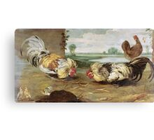 Frans Snyders - A Cock Fight. Bird painting: cute fowl, fly, wings, lucky, pets, wild life, animal, birds, little small, bird, nature Canvas Print