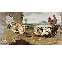 Frans Snyders - A Cock Fight. Bird painting: cute fowl, fly, wings, lucky, pets, wild life, animal, birds, little small, bird, nature Photographic Print