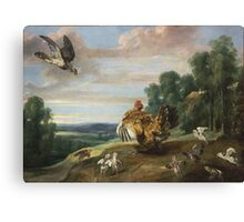 Frans Snyders - A Hawk And A Brood Hen 1646. Bird painting: cute fowl, fly, wings, lucky, pets, wild life, animal, birds, little small, bird, nature Canvas Print