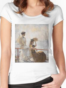Frank Weston Benson - Summer Day. Woman portrait: sensual woman, girly art, female style, pretty women, femine, beautiful dress, cute, creativity, love, sexy lady, erotic pose Women's Fitted Scoop T-Shirt