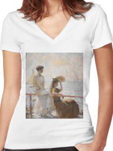 Frank Weston Benson - Summer Day. Woman portrait: sensual woman, girly art, female style, pretty women, femine, beautiful dress, cute, creativity, love, sexy lady, erotic pose Women's Fitted V-Neck T-Shirt