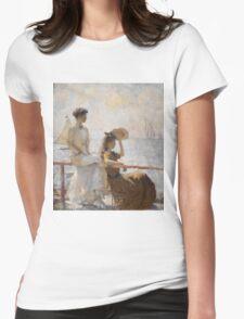 Frank Weston Benson - Summer Day. Woman portrait: sensual woman, girly art, female style, pretty women, femine, beautiful dress, cute, creativity, love, sexy lady, erotic pose Womens Fitted T-Shirt