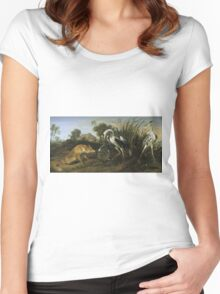 Frans Snyders - Fable Of The Fox And The Heron. Bird painting: cute fowl, fly, wings, lucky, pets, wild life, animal, birds, little small, bird, nature Women's Fitted Scoop T-Shirt