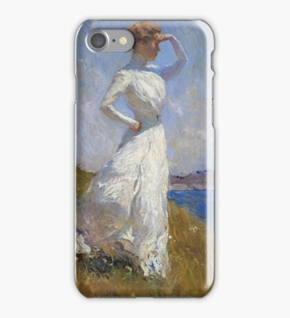 Frank Weston Benson - Sunlight. Woman portrait: sensual woman, girly art, female style, pretty women, femine, beautiful dress, cute, creativity, love, sexy lady, erotic pose iPhone Case/Skin