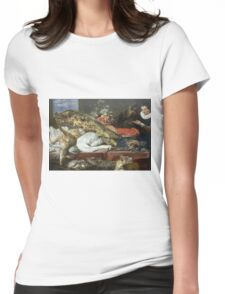 Frans Snyders - Larder With A Servant. hunting scenes painting: hunting man, nature, male, forest, wild life, masculine, dogs, hunt, manly, hunters men, hunter Womens Fitted T-Shirt