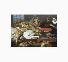 Frans Snyders - Larder With A Servant. hunting scenes painting: hunting man, nature, male, forest, wild life, masculine, dogs, hunt, manly, hunters men, hunter Unisex T-Shirt