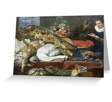 Frans Snyders - Larder With A Servant. hunting scenes painting: hunting man, nature, male, forest, wild life, masculine, dogs, hunt, manly, hunters men, hunter Greeting Card
