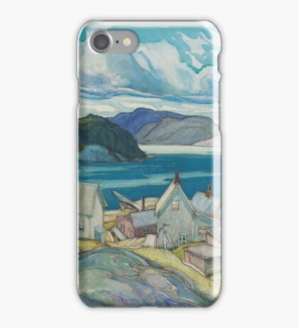 Franklin Carmichael - Jackfish Village 1926. Country landscape: village view, country, buildings, house, rustic, farm, field, countryside road, trees, garden, flowers iPhone Case/Skin