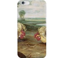 Frans Snyders - A Cock Fight. Bird painting: cute fowl, fly, wings, lucky, pets, wild life, animal, birds, little small, bird, nature iPhone Case/Skin