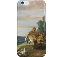 Frans Snyders - A Hawk And A Brood Hen 1646. Bird painting: cute fowl, fly, wings, lucky, pets, wild life, animal, birds, little small, bird, nature iPhone Case/Skin