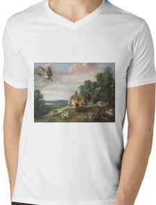 Frans Snyders - A Hawk And A Brood Hen 1646. Bird painting: cute fowl, fly, wings, lucky, pets, wild life, animal, birds, little small, bird, nature Mens V-Neck T-Shirt