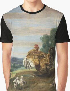 Frans Snyders - A Hawk And A Brood Hen 1646. Bird painting: cute fowl, fly, wings, lucky, pets, wild life, animal, birds, little small, bird, nature Graphic T-Shirt