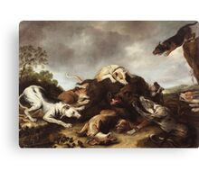 Frans Snyders - The Boar Hunt 1650. hunting scenes painting: cute dog, dogs, doggy, lucky, pets, wild life, animal, smile, little small, kids, nature Canvas Print