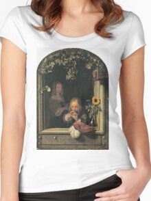 Frans Van Mieris The Elder - Boy Blowing Bubbles 1663 . Child portrait: cute baby, kid, children, pretty angel, child, kids, lovely family, boys and girls, boy and girl, mom mum mammy mam, childhood Women's Fitted Scoop T-Shirt