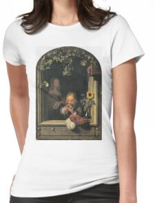 Frans Van Mieris The Elder - Boy Blowing Bubbles 1663 . Child portrait: cute baby, kid, children, pretty angel, child, kids, lovely family, boys and girls, boy and girl, mom mum mammy mam, childhood Womens Fitted T-Shirt