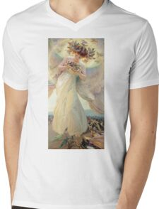 Frantisek Dvorak - The Angel Of The Birds. Woman portrait: sensual woman, girly art, female style, pretty women, femine, beautiful dress, cute, creativity, love, sexy lady, erotic pose Mens V-Neck T-Shirt