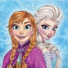 Hand-Drawn Elsa and Anna from Frozen by SomebodyApparel