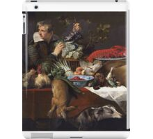 Frans Snyders - Pantry Scene With Servant. hunting scenes painting: hunting man, nature, male, forest, wild life, masculine, dogs, hunt, manly, hunters men, hunter iPad Case/Skin