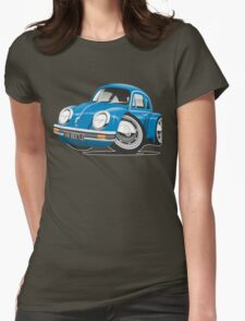 VW Beetle caricature blue Womens Fitted T-Shirt