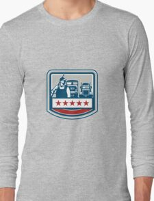 Power Washer Worker Truck Train Crest Retro Long Sleeve T-Shirt