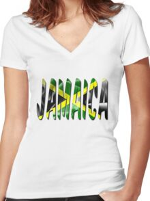 Jamaica Flag Texture Word Women's Fitted V-Neck T-Shirt