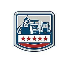 Power Washer Worker Truck Train Crest Retro Photographic Print