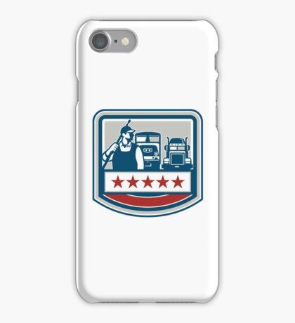 Power Washer Worker Truck Train Crest Retro iPhone Case/Skin