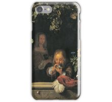 Frans Van Mieris The Elder - Boy Blowing Bubbles 1663 . Child portrait: cute baby, kid, children, pretty angel, child, kids, lovely family, boys and girls, boy and girl, mom mum mammy mam, childhood iPhone Case/Skin