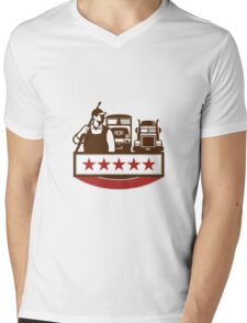 Power Washer Worker Truck Train Stars Retro Mens V-Neck T-Shirt