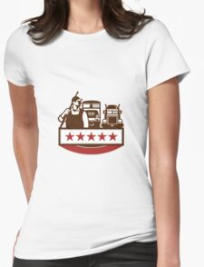 Power Washer Worker Truck Train Stars Retro Womens Fitted T-Shirt