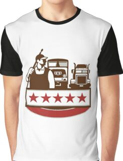 Power Washer Worker Truck Train Stars Retro Graphic T-Shirt