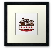 Power Washer Worker Truck Train Stars Retro Framed Print
