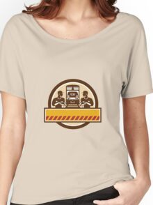 Train Engineers Arms Crossed Diesel Train Circle Retro Women's Relaxed Fit T-Shirt