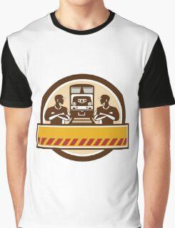 Train Engineers Arms Crossed Diesel Train Circle Retro Graphic T-Shirt