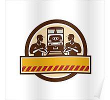 Train Engineers Arms Crossed Diesel Train Circle Retro Poster