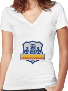 Train Engineers Arms Crossed Diesel Train Crest Retro Women's Fitted V-Neck T-Shirt
