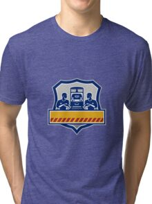 Train Engineers Arms Crossed Diesel Train Crest Retro Tri-blend T-Shirt
